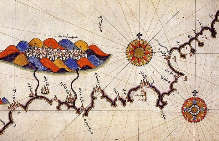 Город Гранада и его окрестности на карте, составленной знаменитым Пири-реисом