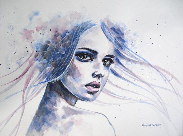 Erica Dal Maso deviantart pinturas aquarelas mulheres singelas coloridas