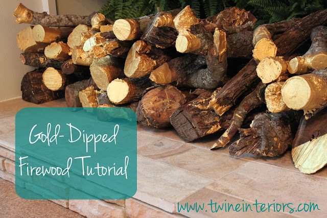 painted wood, Gold-dipped painted firewood, painted firewood tutorial, creative way to use wood, firewood project