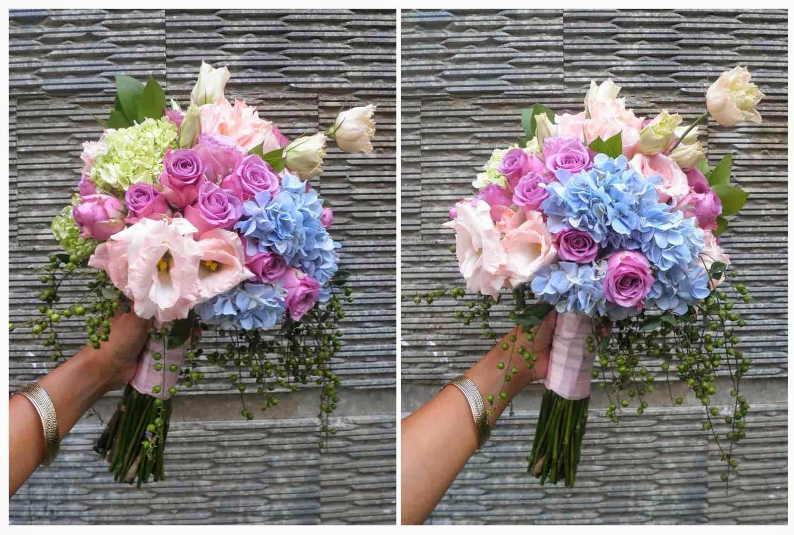 bouquet-purple roses, pink roses, lisianthus, blue hydrangeas, green hydrangeas, green dew drop
