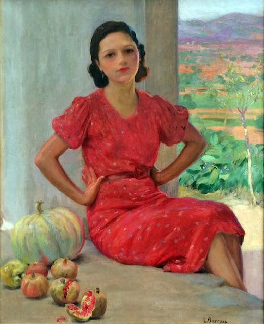 Laureano Barrau Buñol, Señorita en rojo, Pintura española, Pintor Catalán