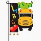 school time applique garden flag
