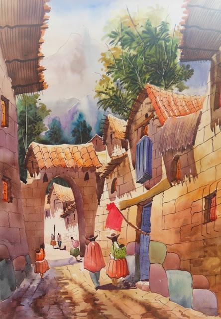 Cuadros modernos pinturas y dibujos paisajes campesinos - Cuadros de pies ...