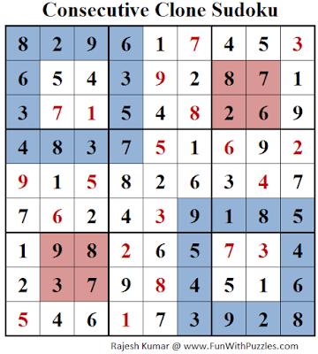 Consecutive Clone Sudoku (Daily Sudoku League #143) Solution