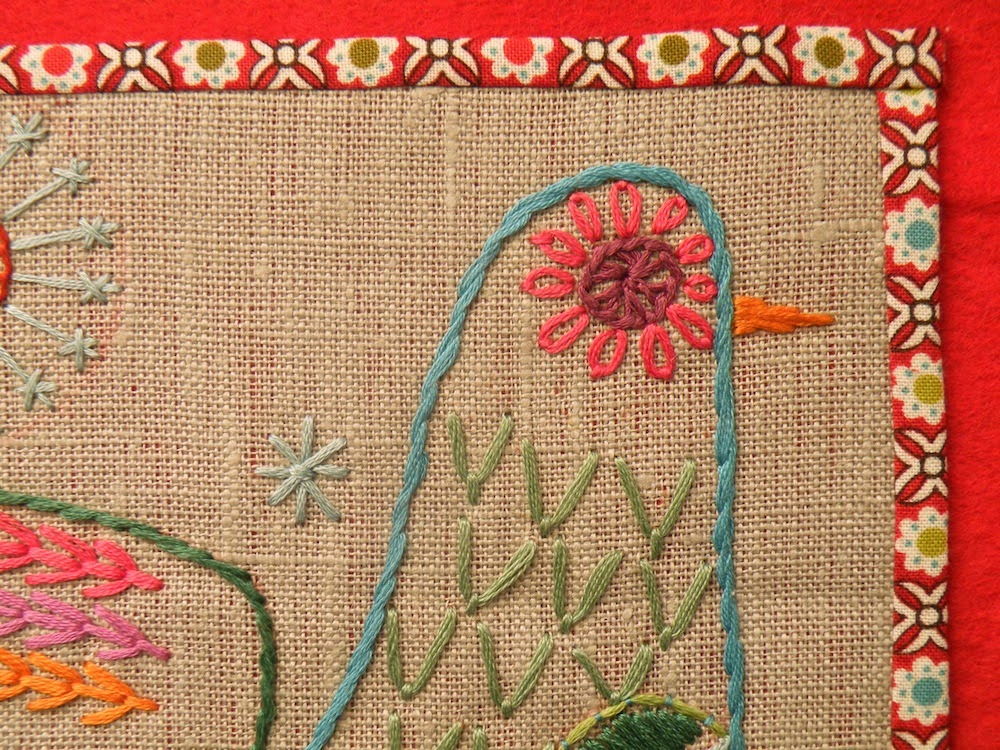 Detail completed embroidery using the download pattern