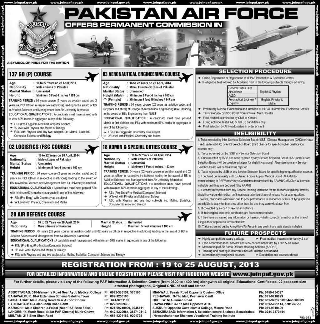 Air Force Jobs - Vacancies in Pakistan Air Force