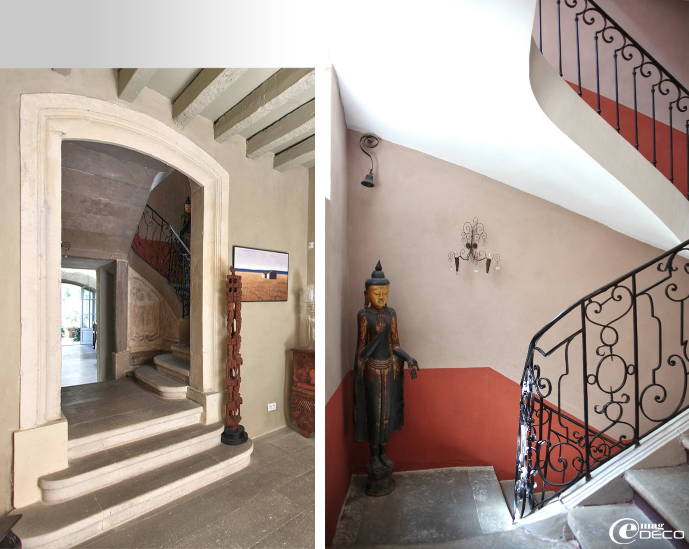 L'entrée et l'escalier du XVIIIème siècle de la maison d'hôtes La Maison sur la Sorgue