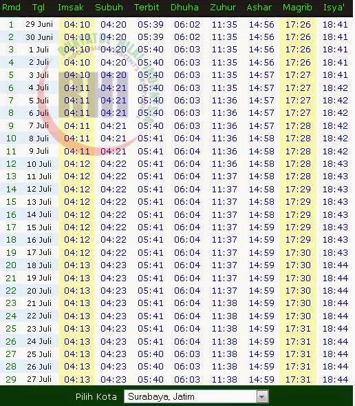 Jadwal Imsakiyah Ramadhan 1435 H / 2014 - gema santri
