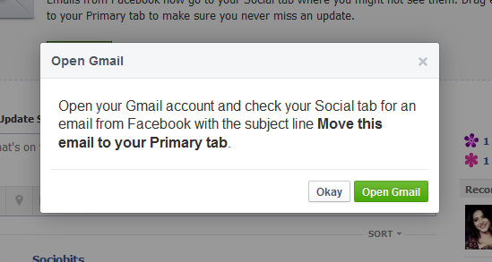 Move Facebook Emails to Your Primary Tab Popup