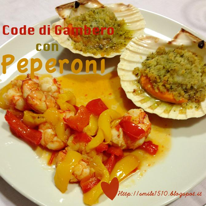 ricetta code di gambero con peperoni