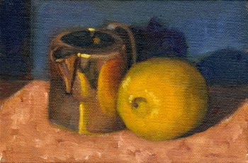 Oil painting of a lemon beside a small silver-plated jug, with the lemon partially reflected on the jug.