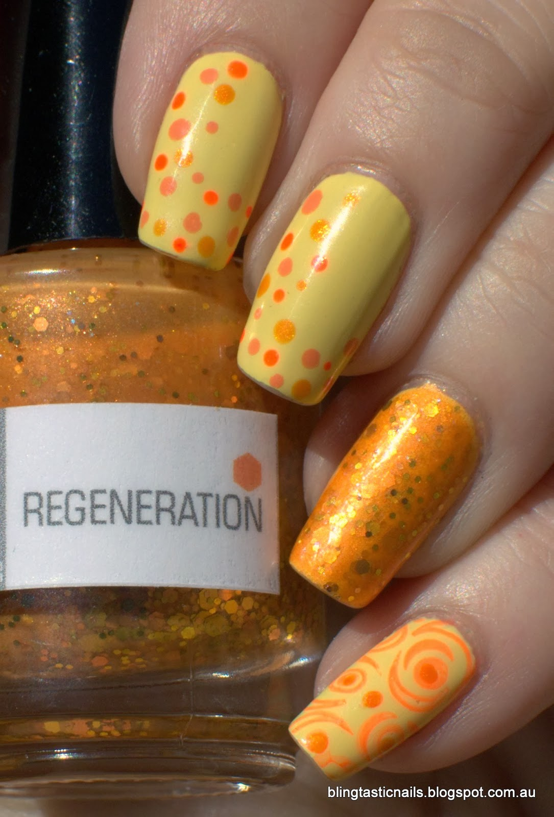 China Glaze Lemon Fizz with NerdLacquer Regeneration accent and dotting and stamping