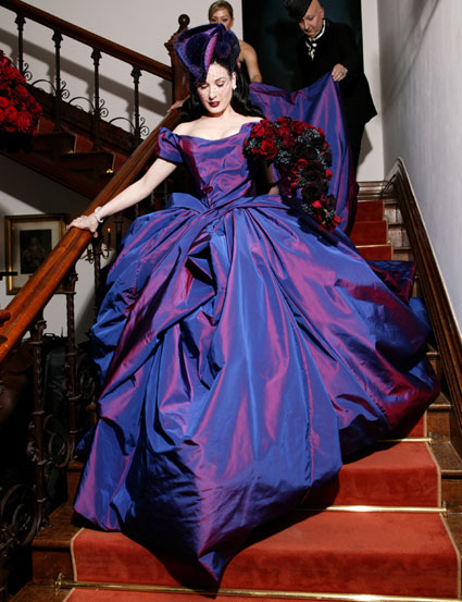 dita von teese marriage Marilyn Manson wearing purple colored Vivienne Westwood gown wedding dress