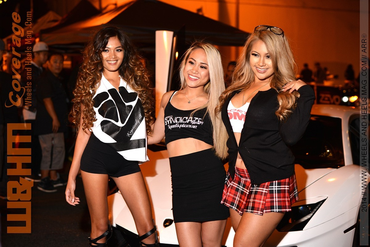 JDM Sport girls with Jasmyn Skye at 2014 HIN LA San Pedro in pleaded skirt