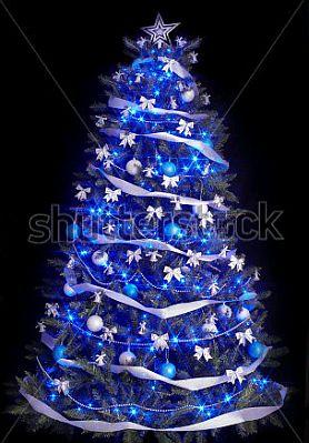 Blue christmas trees 2 - Como decorar un arbol de navidad azul ...