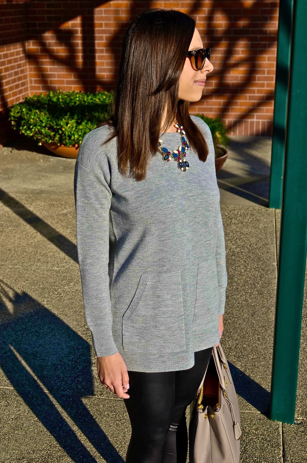 jcrew sweater and necklace