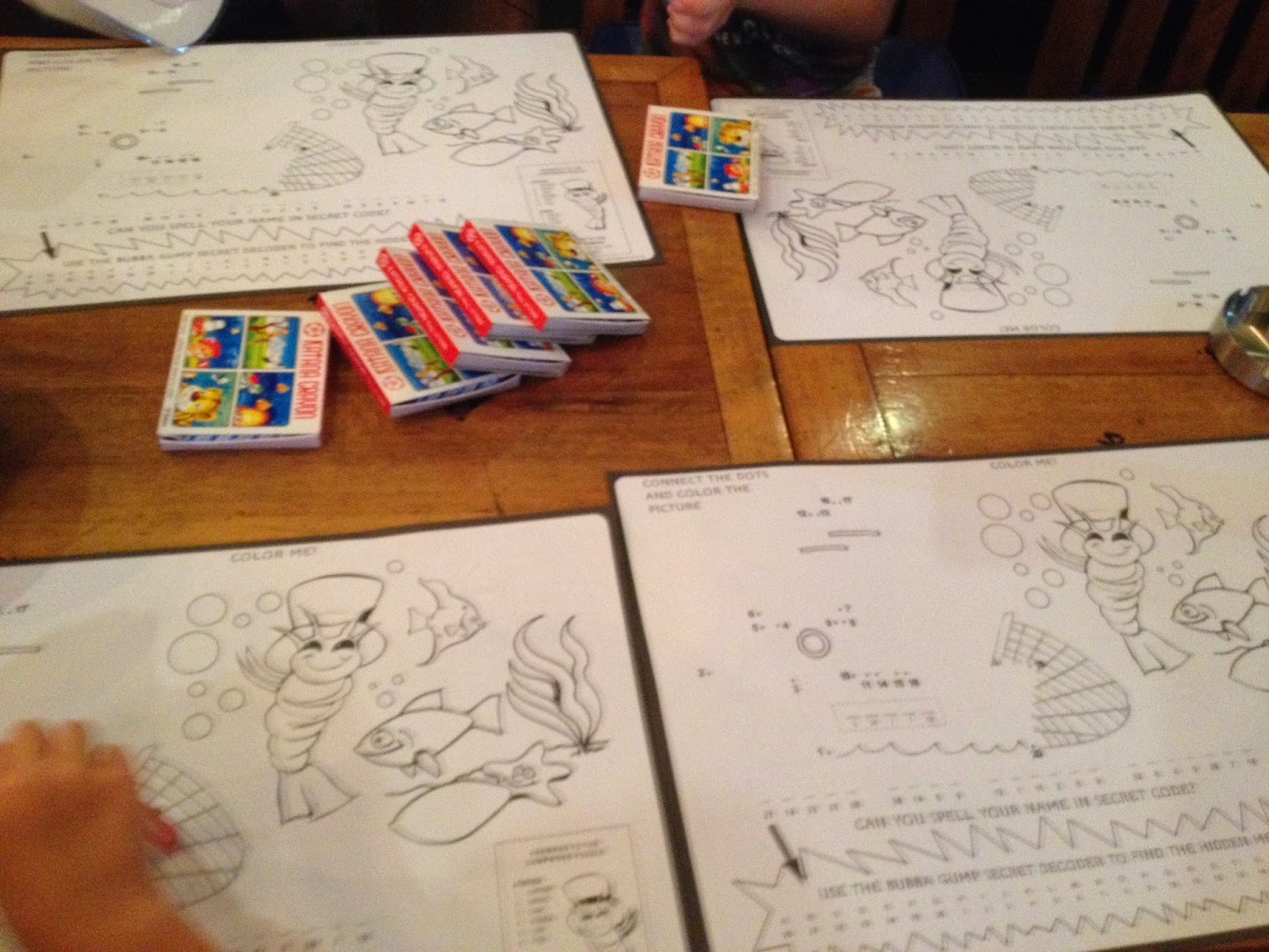 As Soon We Sat Down The Kids Had Activity Pages Placed In Front Of Them And A Pack Crayons Each