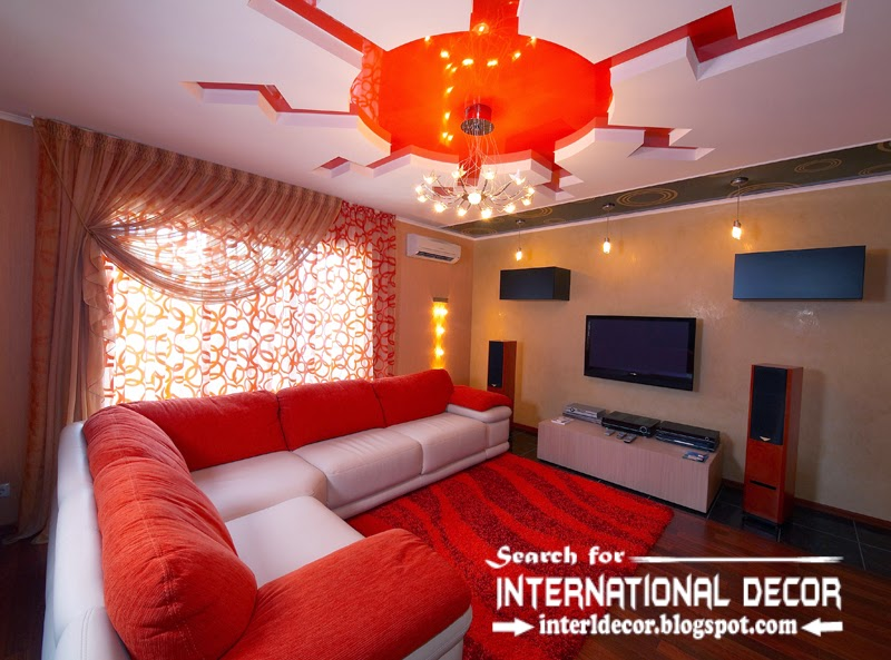 stretch ceilings in the interior of modern apartment, red stretch ceiling with modern living room