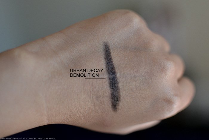 Urban Decay Demolition 24-7 Glide-On Eyeliner Pencil Swatches Photos Review FOTD Indian beauty Makeup Blog