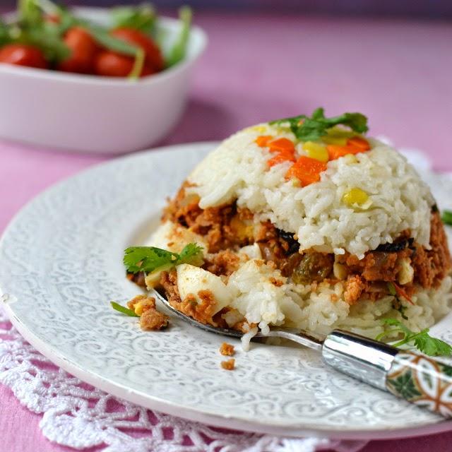 Vegetarian Arroz Tapado (Peruvian Rice & Soy Granules)