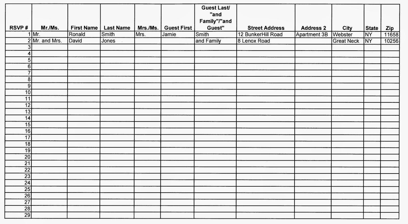 wedding guest list sample – Sample Wedding Guest List