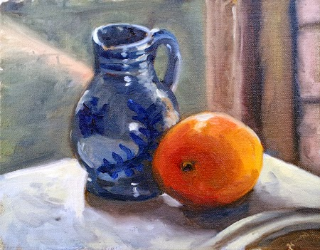 Oil painting of a blue patterned jug and a mango on a small slab of marble beside a window.