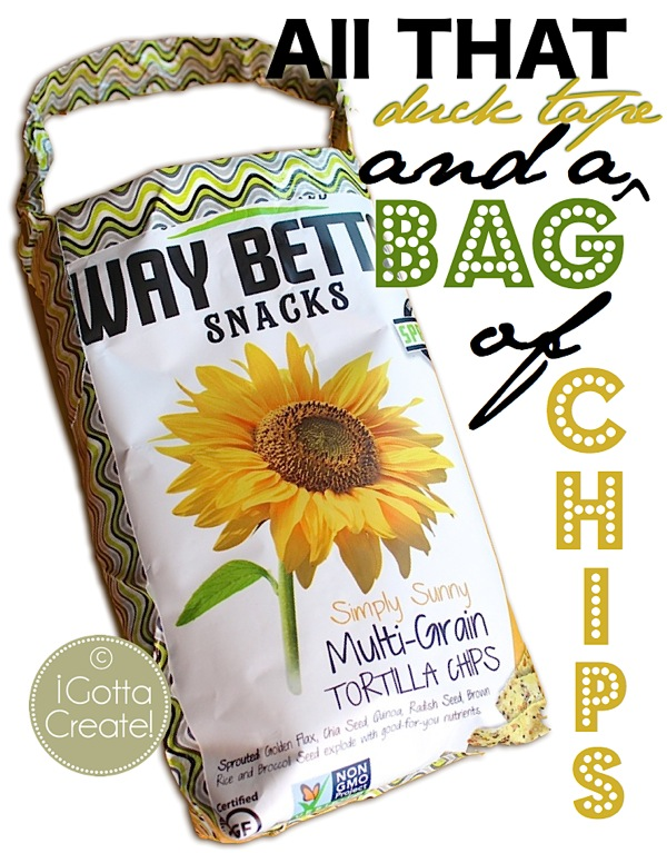 Turn snack bags into useful Totes just by adding Duck Tape!  Great DIY from I Gotta Create!