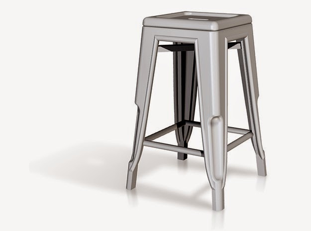 Modern dolls house miniature high Pauchard stool in aluminium..