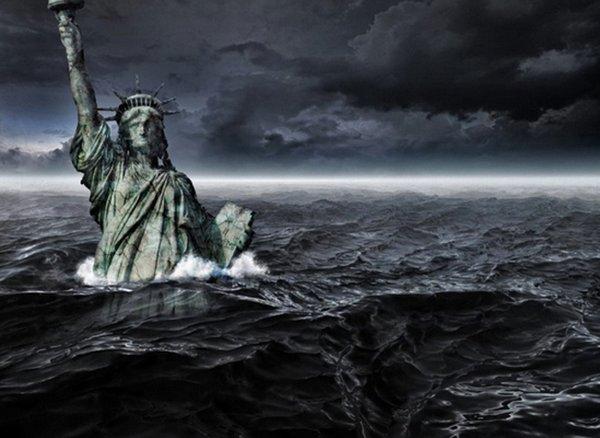 Apocalipse: Tsunami gigante invadindo Nova York/E.u.a, arte digital