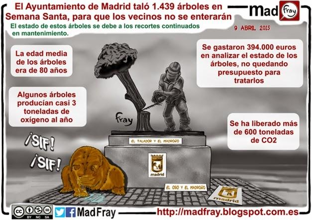 Viñeta, El escudo de Madrid cambiara, ahora sera el talador y el madroño.