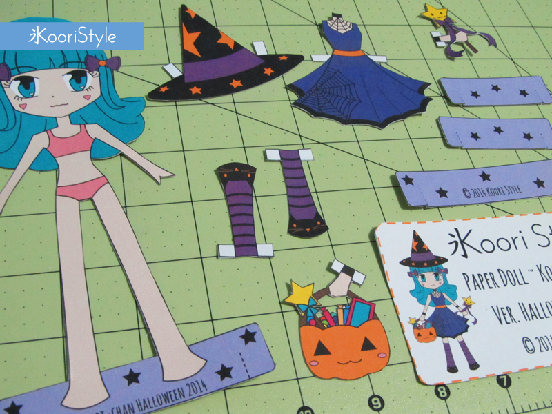Koori KooriStyle Kawaii BJD Paper Doll Color Worksheet Prinatble PDF Colouring Halloween Witch Pumpkin