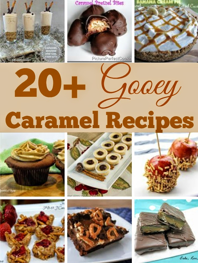 20+ Gooey Caramel Recipes ~ Collection featuring Gooey Caramel & Pretzel combination desserts #CaramelRecipes #RoundUp