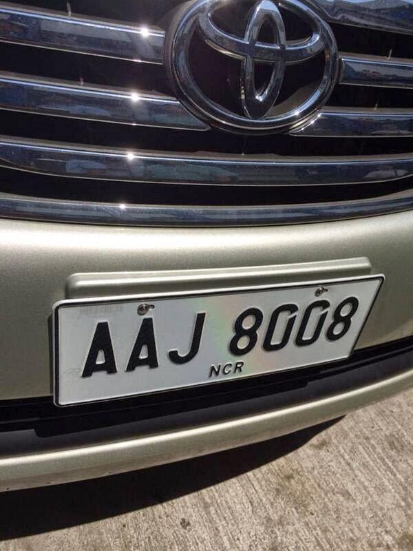 New LTO license plate 2014