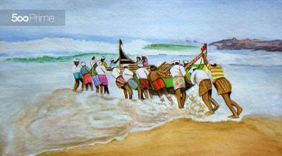 lukisan cat air, nelayan, pantai, perahu