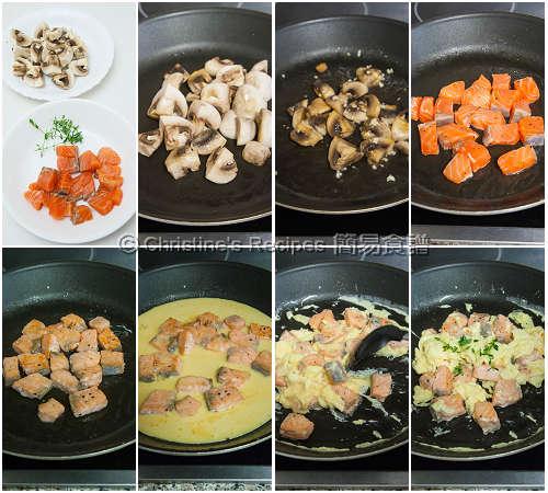 三文魚炒蛋製作圖 Salmon & Scrambled Eggs Procedures