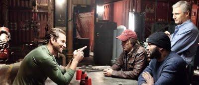 Les membres de L'agence tous risques Hannibal (Liam Neeson), Futé (Bradley Cooper), Barracuda (Quiton 'Rampage' Jackson) et Looping (Sharlto Copley) dans L'agence tous risques