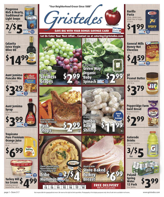 CHECK OUT ROOSEVELT ISLAND GRISTEDES Products, SALES & SPECIALS For October 12 - October 18