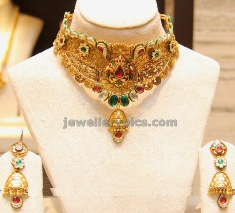 matte finish gold and kundan choker by CMR jewellers