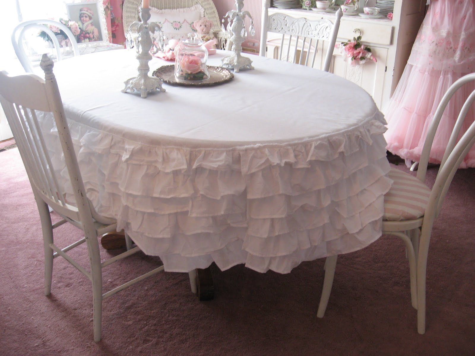 Shabby Cats and Roses Ruffled Bedskirt turned Tablecloth
