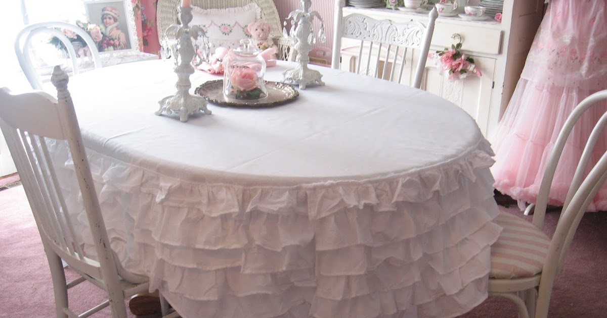 Shabby cats and roses ruffled bedskirt turned tablecloth for Dining room table linen ideas