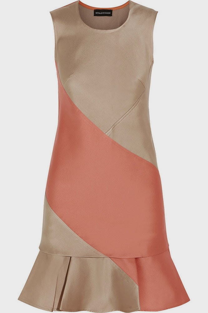 Ostwald Helgason Colour-block duchesse-satin mini dress