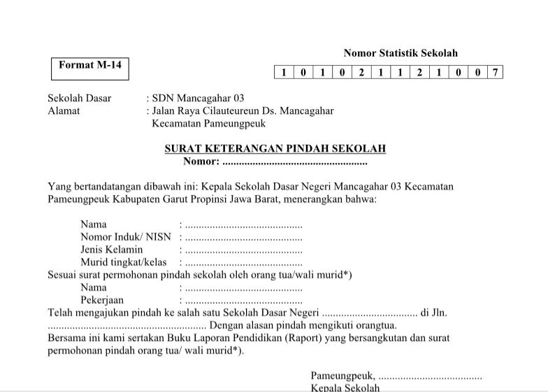 Contoh Surat Keterangan Siswa Pindah Sekolah Format Word Ebook Gratis