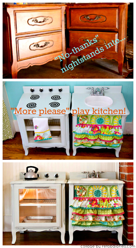 Upcycle: Old nightstands into a play kitchen!   the ReFab Diaries