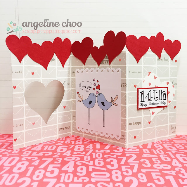 ScrappyScrappy: Love birds trio card #scrappyscrappy #thecuttingcafe #svg #cutfile #valentine #card #papercraft #ellesstudio #stickles