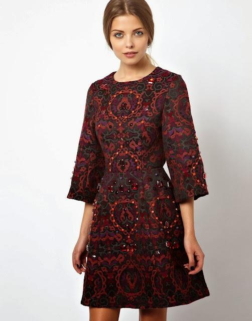 embellished burgundy dress