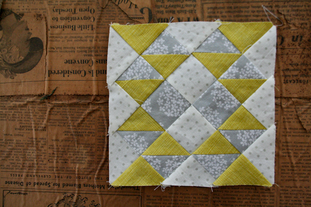buckwheat farmer's wife quilt block in light grey and citron by Lovely and Enough