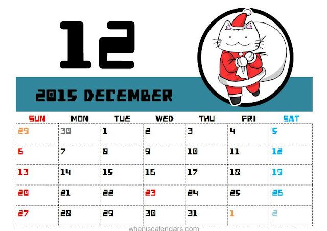 December 2015 Christmas Calendar Printable