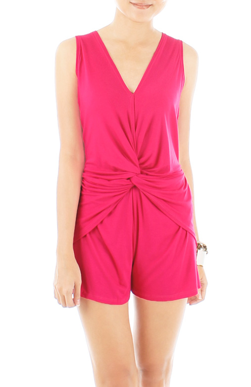 Knotted Hearts Romper – Neon Pink