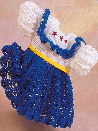 mavi beyaz tig orgusu kiz cocuk elbise ornekleri modelleri Tığ İle İşlenen Kız Bebek Elbise Modelleri