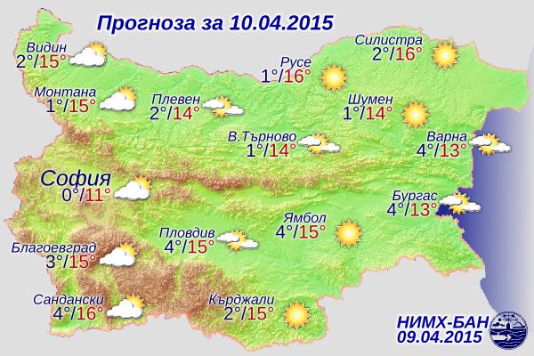 Прогноза за времето за 10 Април, петък 2015